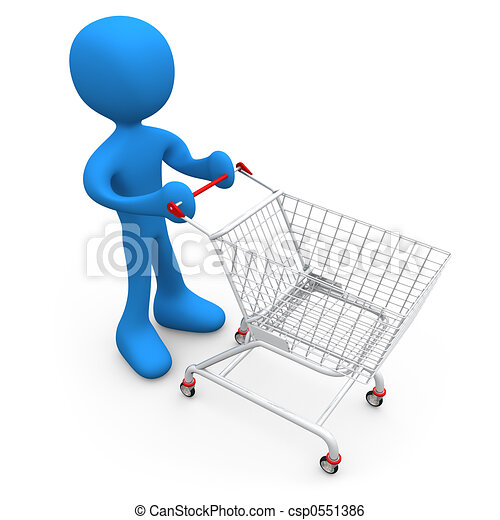Person with shopping cart - csp0551386