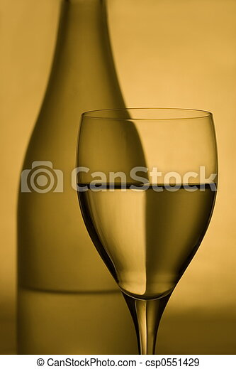 Wine glas and bottle - csp0551429