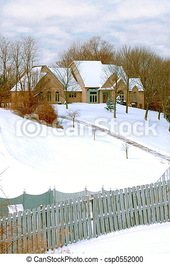 Mansion on a Snow Covered Hillside - csp0552000