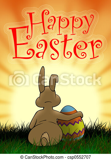 Easter Bunny and painted egg 2 - csp0552707