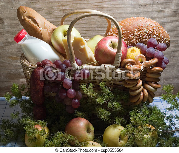 Basket with food - csp0555504