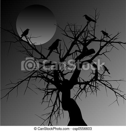 Scary Birds Drawing Scary Tree Csp0556603