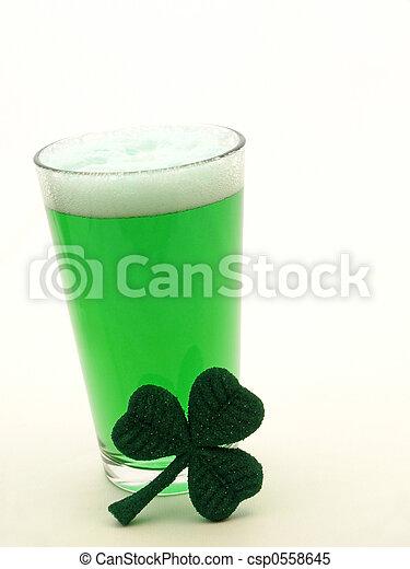 St Patricks Day green beer and shamrock - csp0558645