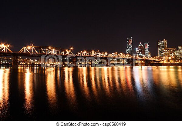Portland Skyline at night - csp0560419