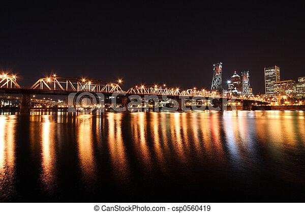 Portland Skyline at night - csp0560419