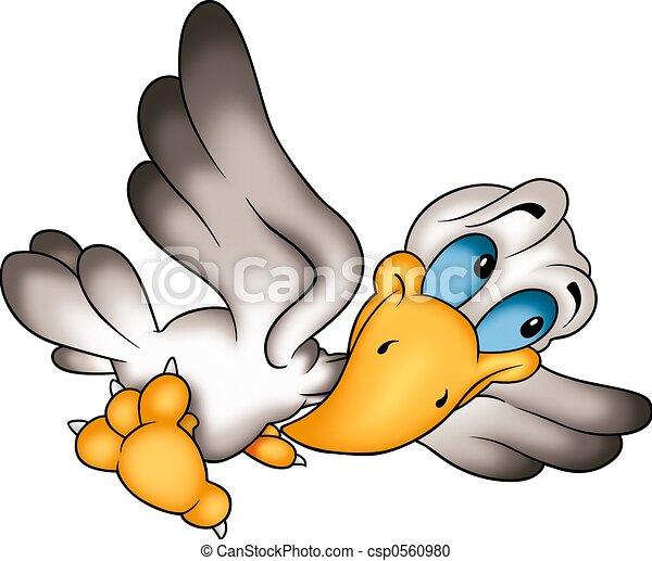 Humorous flying bird - csp0560980