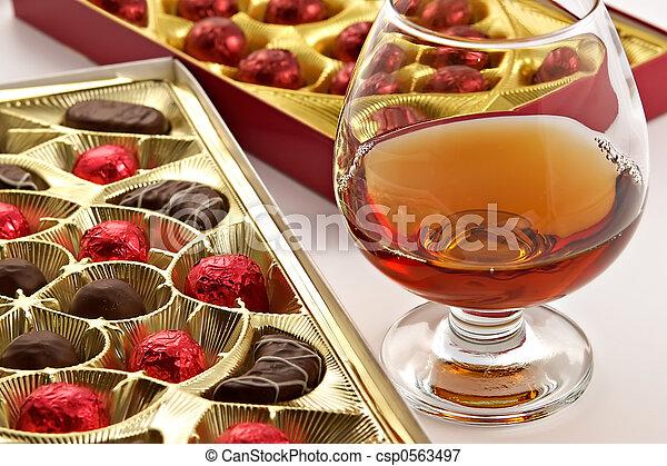 vidrio, Coñac, dulces, licor - csp0563497