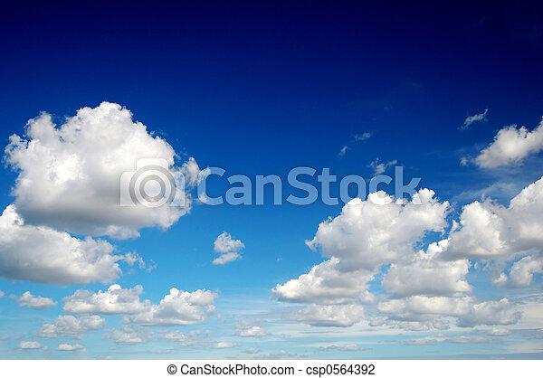 cielo azul, nubes, como, algodón - csp0564392