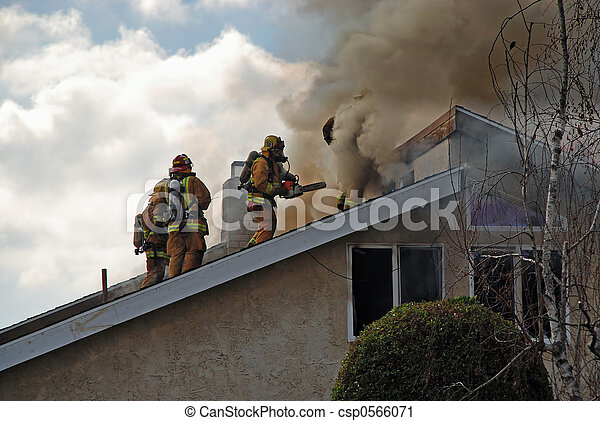 Fire Fighters onRoof - csp0566071