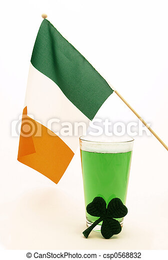 green beer with Irish flag and shamrock - csp0568832