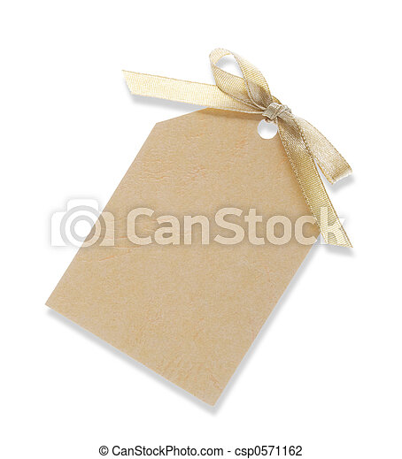 yellow gift tag tied with ribbon (with ) - csp0571162