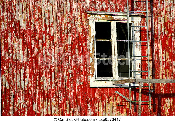 red rustic frontage - csp0573417