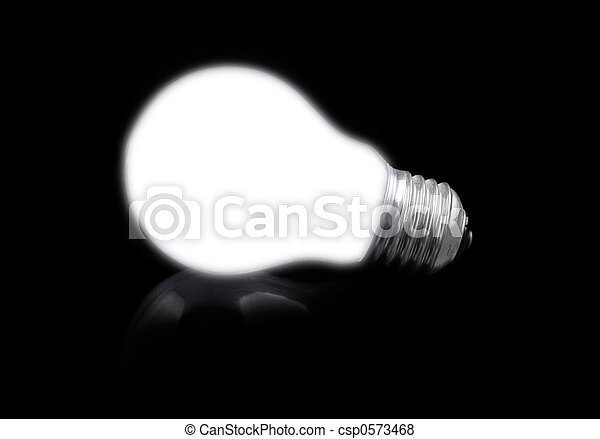 close-up of lit light bulb on black - csp0573468