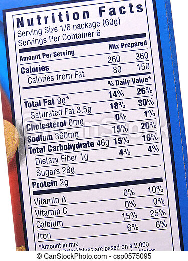 Stock Images of Nutrition label on blue box csp0575095 ...