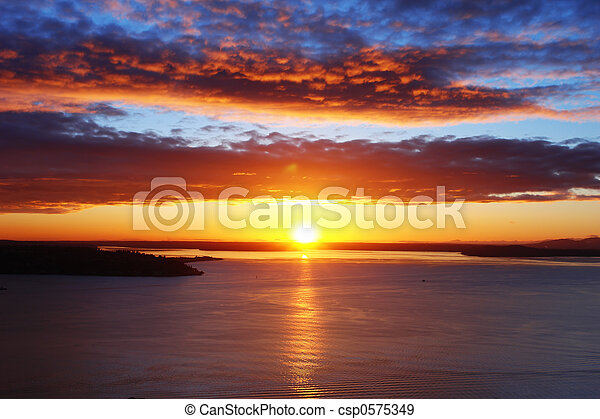 Puget Sound Sunset - csp0575349