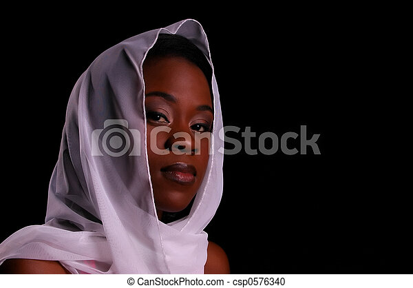 African-American woman in white head scarf - csp0576340