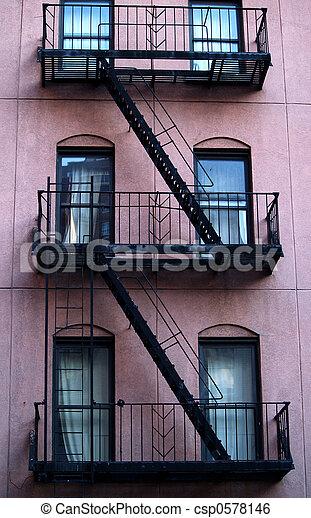 Apartment Building Fire Escape Ladder stock image of escape ladder - new york building csp0578146