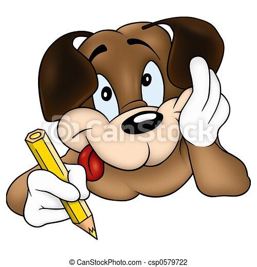 Dreamy dog painter - csp0579722