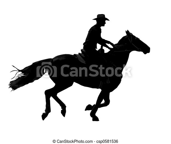 Cowboy Cantering - csp0581536