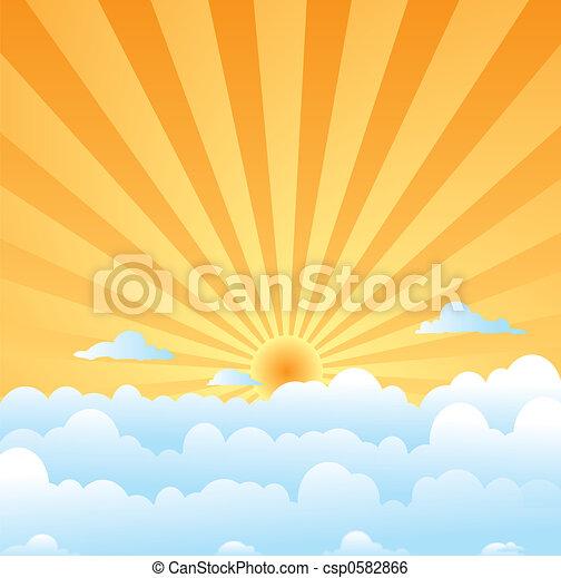 fluffy clouds sun - csp0582866