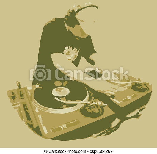 Dj Spinning Record - csp0584267
