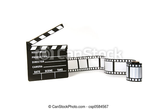 Clapboard and film strip on white background - csp0584567