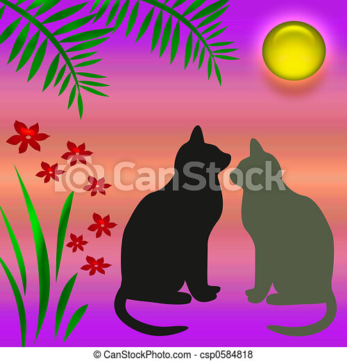 Stock de ilustraciones de gatos jard n gatos y flores for Ahuyentar gatos de mi jardin
