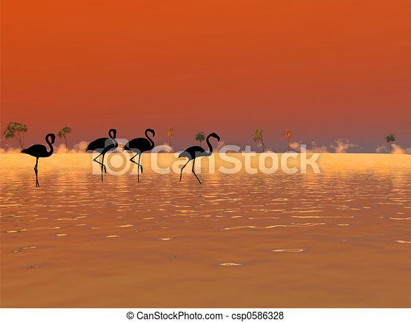 フラミンゴ, シルエット - csp0586328