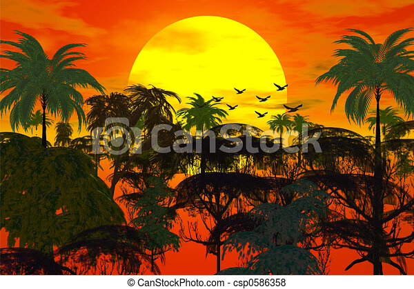 sunset over jungle - csp0586358