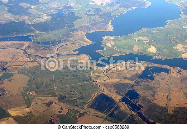 フィールド, 光景, -, 航空写真, 川 - csp0588289