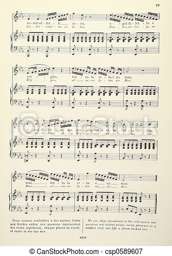 Old musical score - piano and vocals
