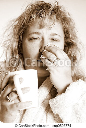 woman with a cold - csp0593774