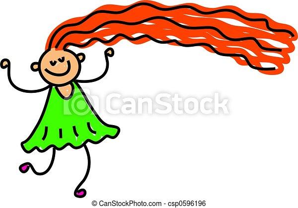 happy long hair - csp0596196