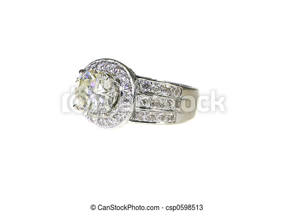Platinum White Gold Diamond Wedding Engagement Ring With Band - csp0598513