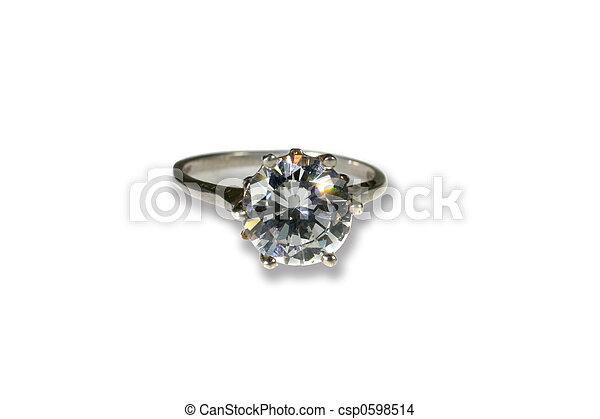 Platinum White Gold Diamond Wedding Engagement Ring With Band - csp0598514