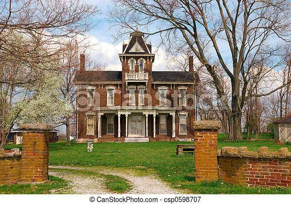 Historic 1800s Brick Home - csp0598707
