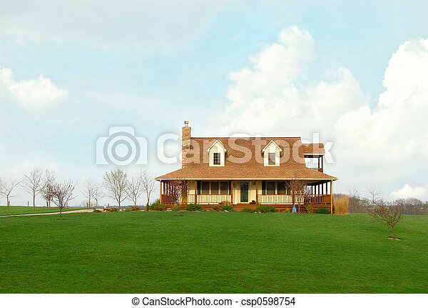 Farmhouse In The Country In Springtime - csp0598754