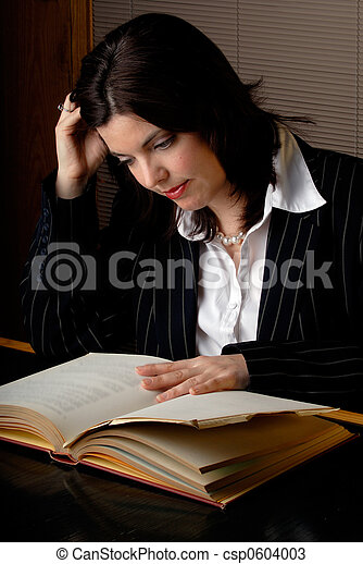 Woman Reading A Law Book - csp0604003
