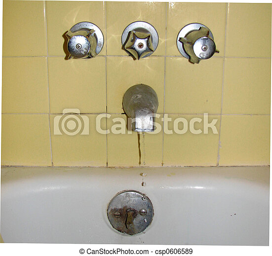 Stock Photographs of Old Leaky Faucet BathroomAn old faucet