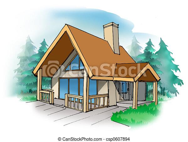 Dibujos de cabaña   un, pequeño, vacaciones, hogar, en, el, país ...