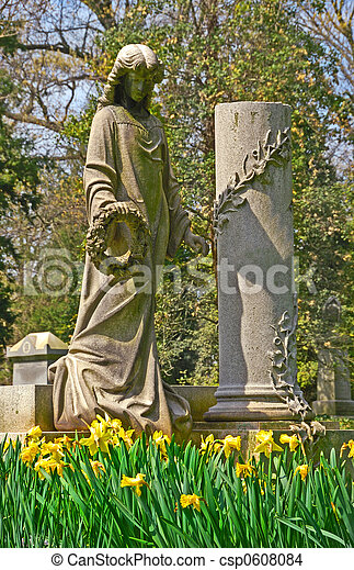 Memorial grave markers at historic Spring Grove Cemetery in Cincinnati Ohio USA.  Spring Grove is the second largest cemetery in the United States and was established in 1845. - csp0608084