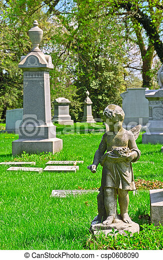 Memorial grave markers at historic Spring Grove Cemetery in Cincinnati Ohio USA.  Spring Grove is the second largest cemetery in the United States and was established in 1845. - csp0608090