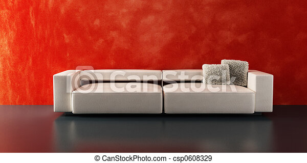 modern sofa 3D rendering - csp0608329