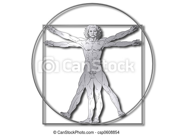 Vitruvian man silver - csp0608854
