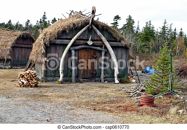 Stock Photography of Viking house, recreation on movie set of ...