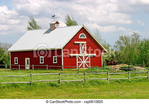 Stock photography of red barn pretty rural red barn for Hobby farm plans