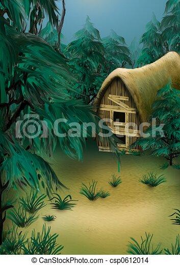 Dibujos de cabaña, bosque - bosque, cabaña, -, muy, detallado ...