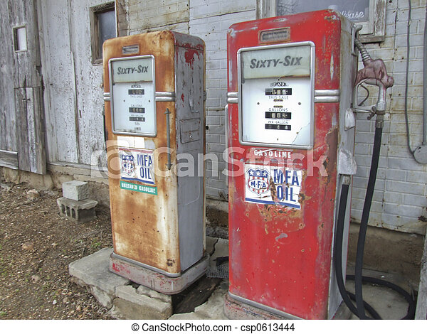 Stock Photo of Antique Gas Pumps - Antique gasoline pumps ...