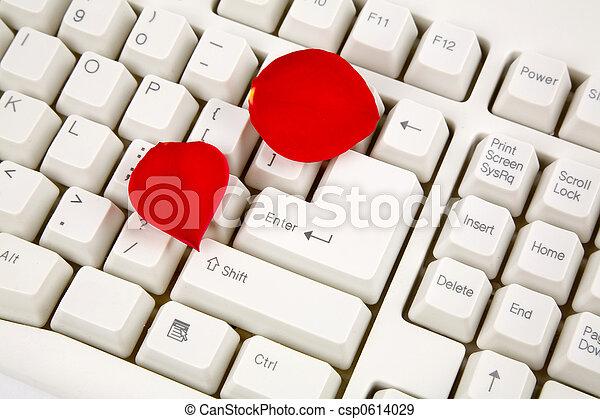 rose petals and keyboard