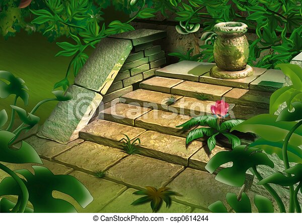 Old steps in jungle - csp0614244
